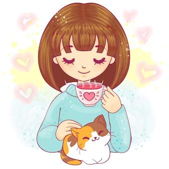 Милая мультипликационная девочка с котенком и чашкой чая