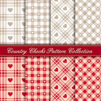 居心地の良いカントリーギンガムハートパターンコレクション赤とベージュ