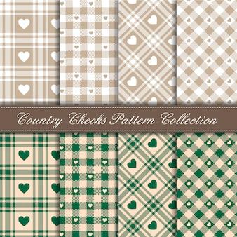 居心地の良いカントリーギンガムハートパターンコレクショングリーンとベージュ