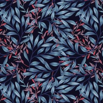 ダークブルーのモダンな葉のシームレスなパターン