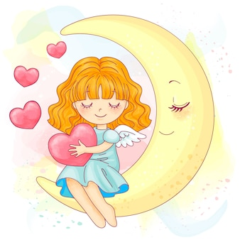 月に座っているかわいい小さな水彩女の子