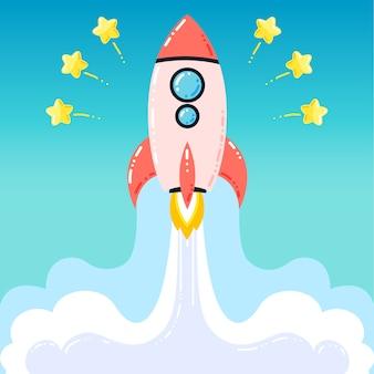 フラットデザインロケットスタートアップ