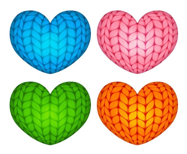 Трикотажные векторные чучела сердец синий розовый зеленый оранжевый