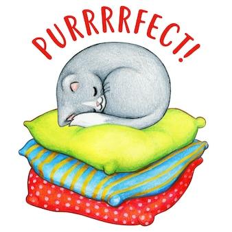 Акварельный серый котенок спит на разноцветных подушках