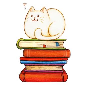 書籍のスタックに水彩の白猫