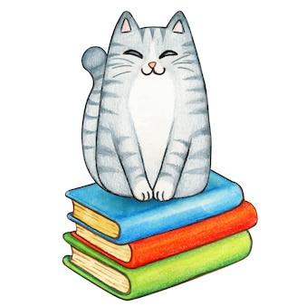 Акварель серый полосатый кот на стопку книг