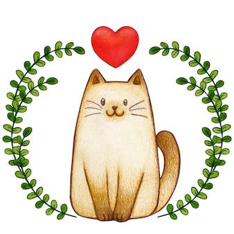 枝のフレームに水彩のポイント猫