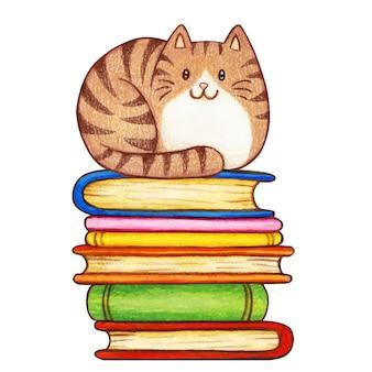 Симпатичный акварельный полосатый котенок на стопке книг