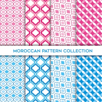 ベビーピンクとブルーのモロッコのシームレスパターンのかわいいコレクション