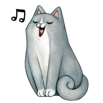 Симпатичный акварельный серый котенок поет