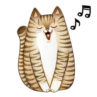 Симпатичный акварельный полосатый котенок поет