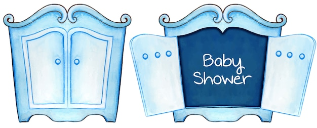 水彩ブルーベビーシャワーの招待状カードキャビネット