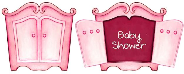 水彩ピンクベビーシャワーの招待状カードキャビネット