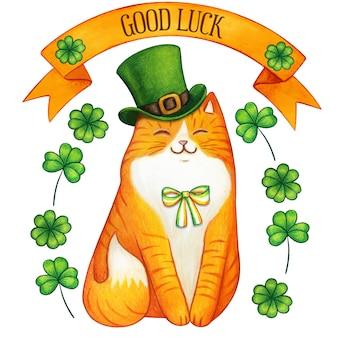 Акварель имбирь святой патрик праздничный кот зеленая шапка