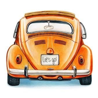 水彩の光沢のあるビンテージ車の背面図