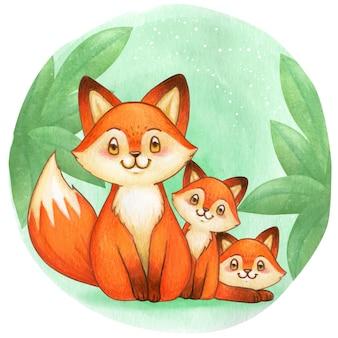 森の中でかわいい水彩キツネ家族