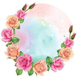 バラの水彩画のロマンチックなフレーム