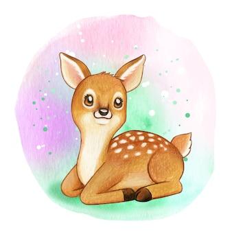 かわいい甘い水彩子鹿