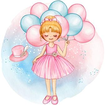ピンクの風船で水彩プリンセスバレリーナ