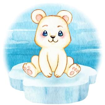 Милый полярный медвежонок сидит на кусочке айсберга на море