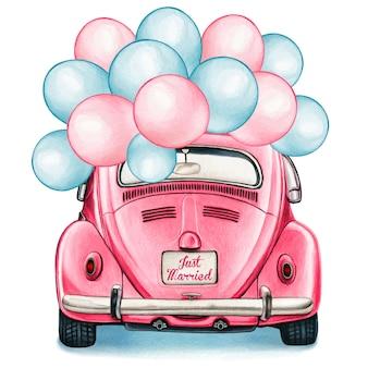 風船のお祝いと水彩のピンクの光沢のあるビンテージ車