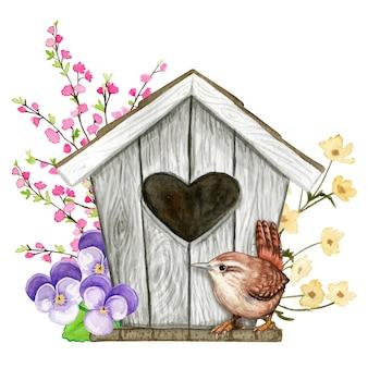 Милый акварельный скворечник с отверстием в форме сердца с цветами