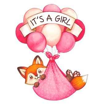 Акварель девочку новорожденного лиса летит на разноцветных шаров