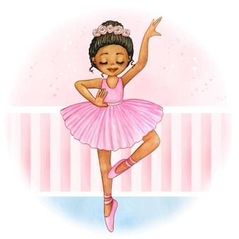 Симпатичная акварель афро принцесса балерина