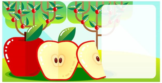 Красочный, плоский дизайн, яблоня