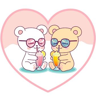 Милая пара медведей пьет молочные коктейли