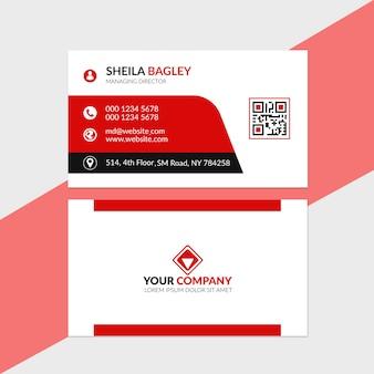 Шаблон визитной карточки красный
