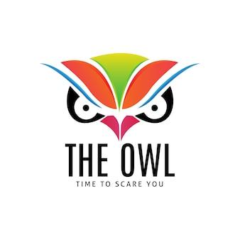 フクロウの顔のロゴのテンプレート