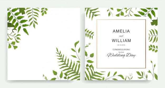 植物の結婚式の招待状、招待