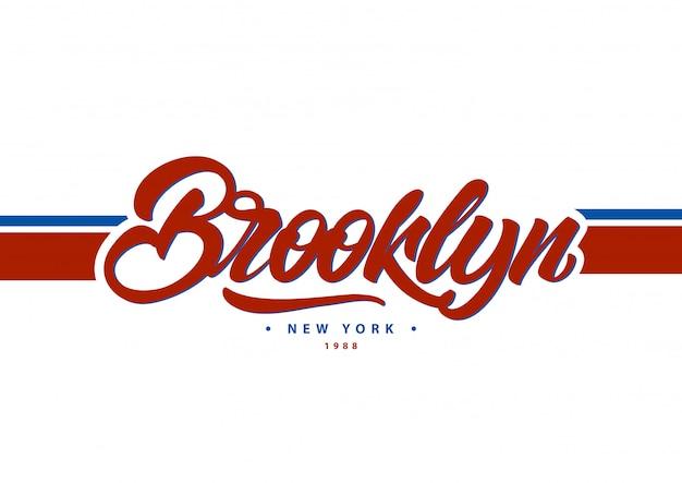 ブルックリン、ニューヨークスタイルの大学風のタイポグラフィ。