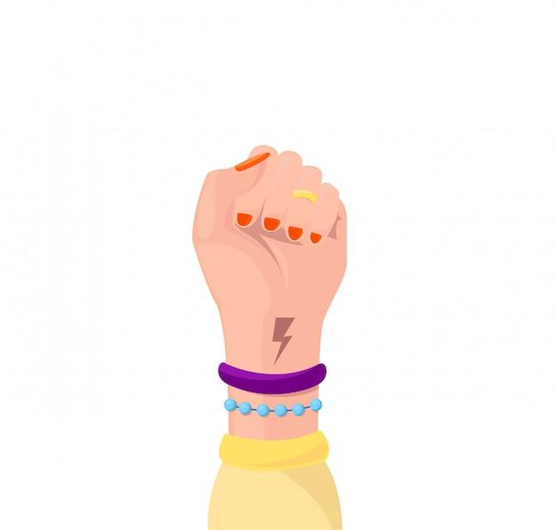 Девушка сила символ феминистского движения изолированы. женщина руку с ее кулак подняты вверх.