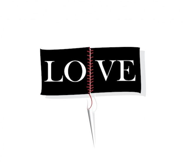 針と糸の概念と愛のスローガン。