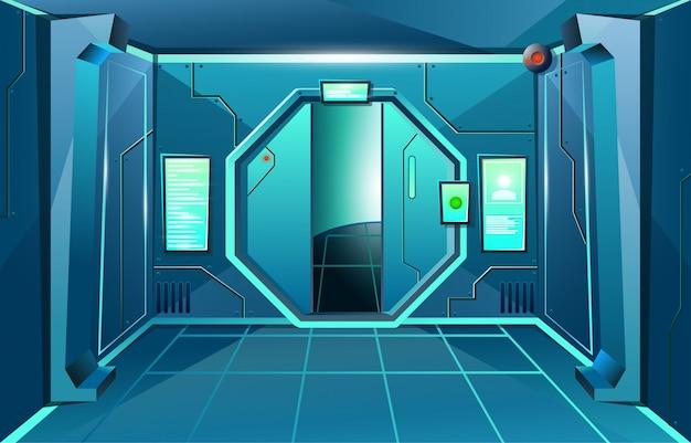 開いているドアとカメラで宇宙船の廊下。ゲームやアプリケーションのための未来的なインテリアルーム。