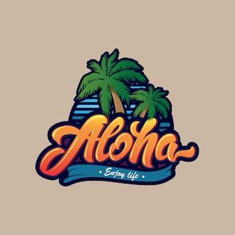 Алоха надписи логотип.