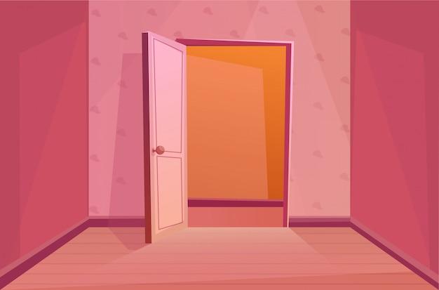 ドアを開けて屋内で