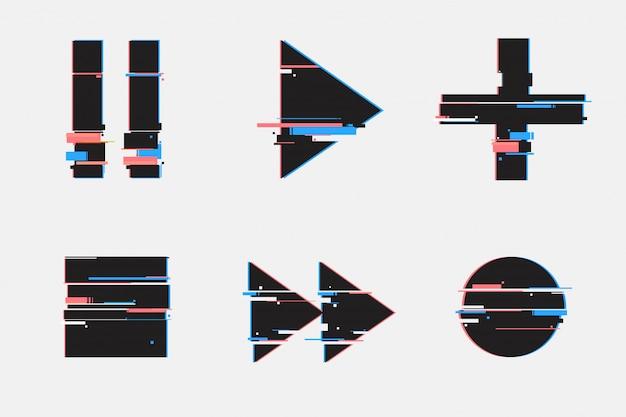 幾何学的なグリッチスタイル。再生、一時停止、録音、再生ボタン。