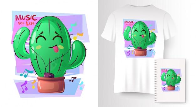 Растения кактуса в мультяшном стиле на макете футболки