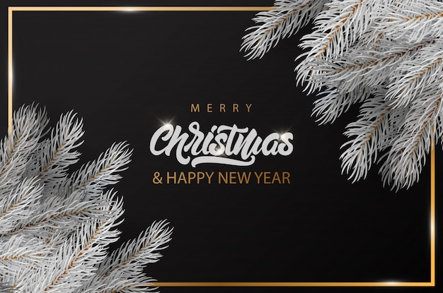 Счастливого рождества баннер с золотой рамкой, надписью и белой елки