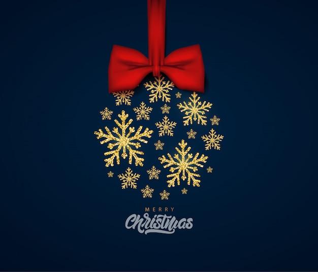 ゴールドラメテクスチャ雪片でメリークリスマスのグリーティングカード