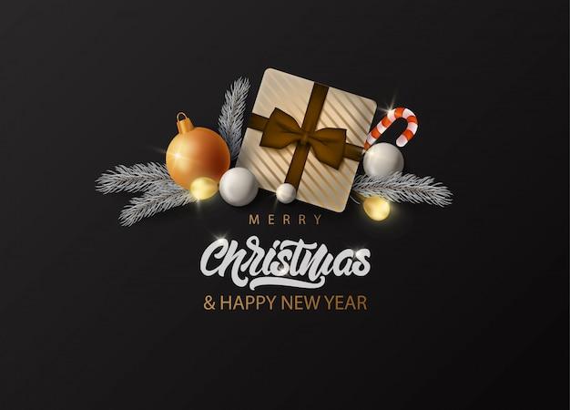 ガーランド、ボール、ギフトボックスと現実的な大きな毛皮ツリーとメリークリスマスのグリーティングカード。