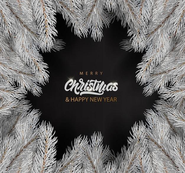 白い毛皮ツリーとメリークリスマスのグリーティングカード。