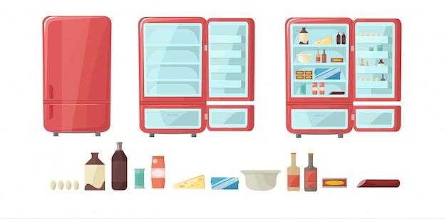 Холодильник полон еды. пустой и закрытый холодильник установлен.