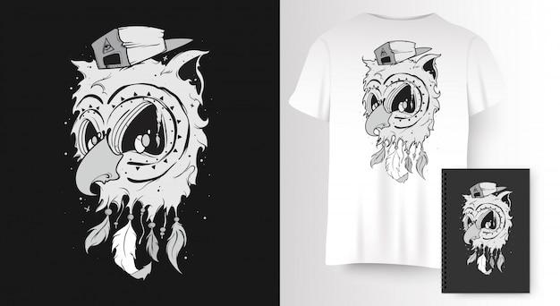 Сова для футболки с принтом