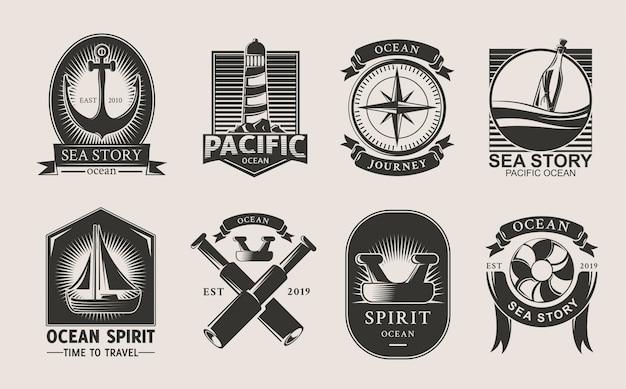 Океан логотип набор.