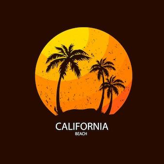 ヤシの木とカリフォルニアビーチイラスト