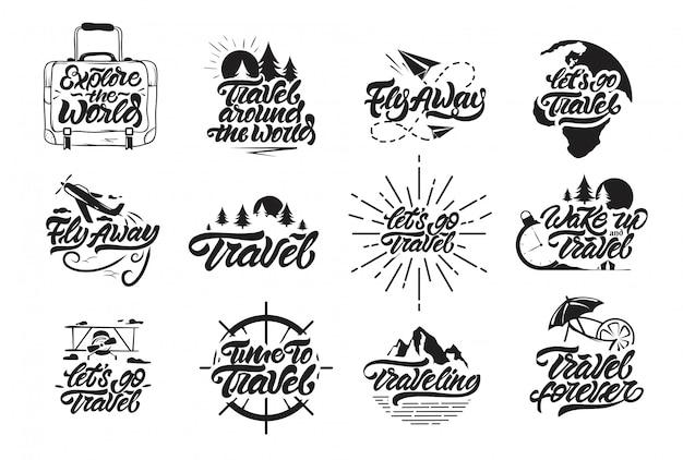 Путешествия набор логотипов в стиле надписи.